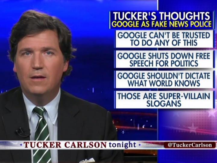 Tucker Carlson: 'Google Should Be Regulated Like the Public Util